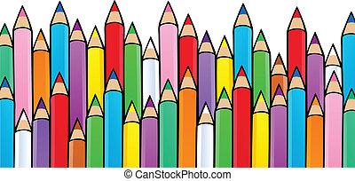 1, crayons, gevarieerd, beeld