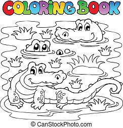1, crocodilo, imagem, tinja livro