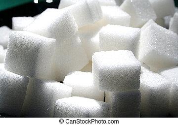 1, cubos, azúcar