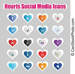 1, cuori, media, sociale, icone