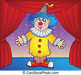 1, cyrkowy klaun, rusztowanie
