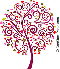 1, décoratif, arbre, -