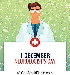 1, december., illustration., neurologen, medizin, day., holiday., vektor, medizinprodukt