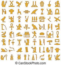 1, decor, sæt, hieroglyffer, ægyptisk