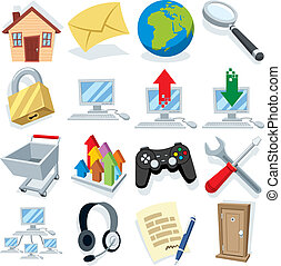 1, deel, internet, spotprent, iconen