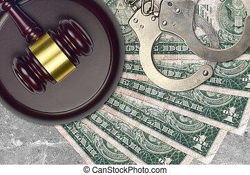 1, desk., nous, procès, impôt, action éviter, juge cour, marteau, police, concept, ou, dollar, judiciaire, menottes, factures, bribery.