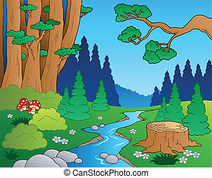 1, dessin animé, paysage, forêt