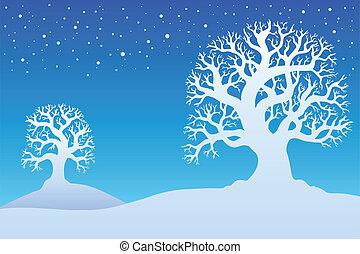 1, deux, arbres hiver, neige