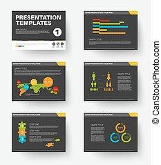 1, diapositives, vecteur, présentation, gabarit