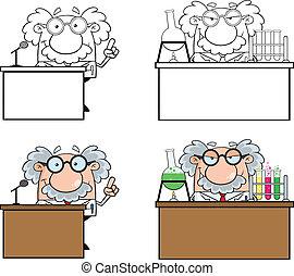 1, divertente, professore, set, collezione