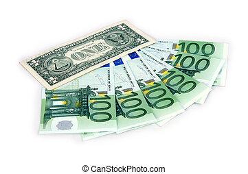 1 dollar and hundreds euro