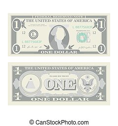 1 Dollar Banknote Vector. Cartoon US Currency. Two Sides Of...