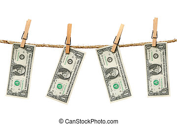 1 Dollar Bills Hanging From a Rope