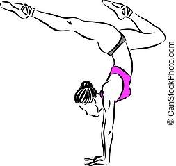 1, donna, ballerino, vettore, illustrazione