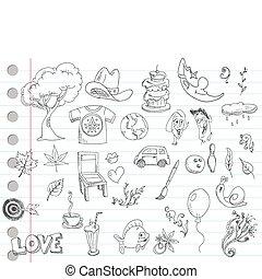 1, doodle, set