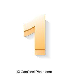 1, doré, brillant, nombre, 3d