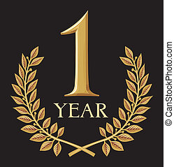 1, doré, couronne, laurier, année