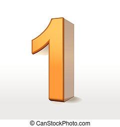 1, dourado, número, 3d