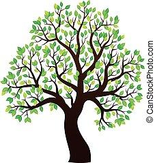 1, drzewo, temat, pokryty obficie liśćmi, sylwetka