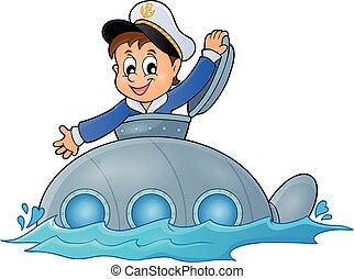 1, duikboot, beeld, thema, zeeman