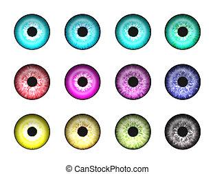 1, elvont, szemek