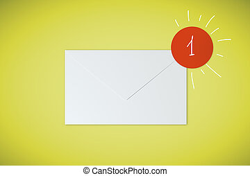 1 email on yellow background