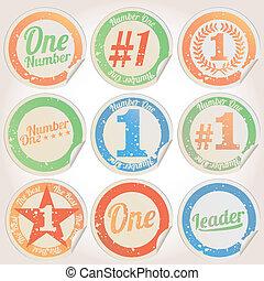 1, emblemas, grunge, número, vetorial