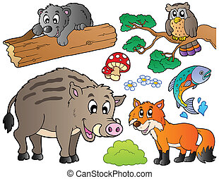 1, ensemble, animaux, forêt, dessin animé
