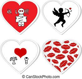 1, -, ensemble, autocollants, amour