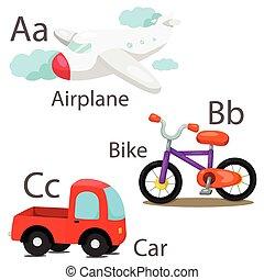 1, ensemble, illustrateur, véhicules