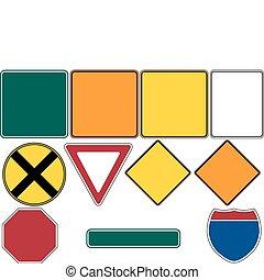 1, ensemble, panneaux signalisations