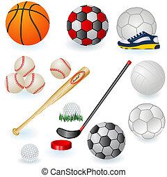 1, equipamento, desporto, ícones