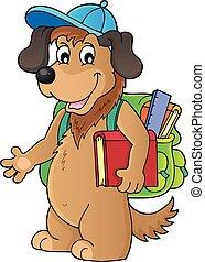1, escola, tema, imagem, cão