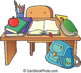 1, escola, tema, imagem, escrivaninha