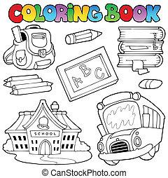 1, escuela, libro colorear, colección