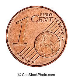 1, euro, cent, monnaie