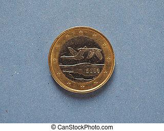 1 euro coin, European Union, Finland over blue