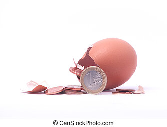 1 euro coin getting out of cracked hatched egg. Symbol for economy, business, income, banking, finance