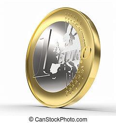 1 euro coin on white. money concept.