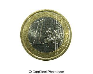 1, euro, moeda
