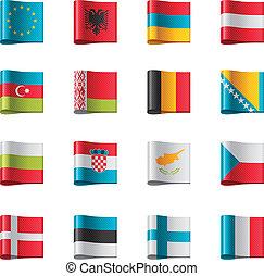 1, europa, parte, flags., vettore
