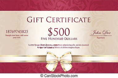 Exclusive gift certificate with floral pattern and cream ribbon