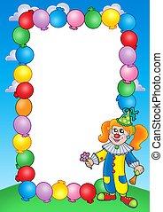 1, fête, cadre, clown, invitation