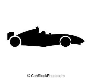 1, fórmula, coche, icono