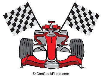 1, fórmula, vector, coche de carreras