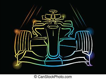 1, fórmula, vector, ilustración, coche