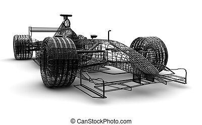 1, fórmula, wireframe, coche