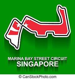 1, f1, bandera, singapur, fórmula, o, prix, magnífico, pista de carreras