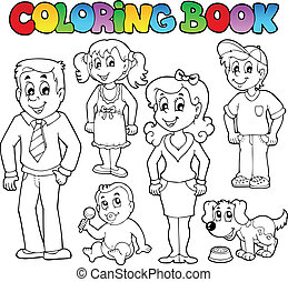 1, famille, livre coloration, collection