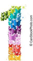 1, farfalla, numero
